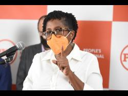 Dr Angela Brown Burke,  opposition spokesperson on education, speaking at a press conference called by the People's National Party yesterday.