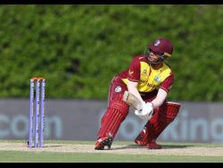 West Indies batsman Shimron Hetmyer in action during his top-score 28 against Pakistan in a ICC T20 World Cup warm-up match yesterday at the ICC Academy in Dubai.