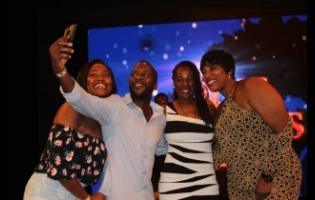 Cast members of Ring Games Season 2, Stephanie Hazle, Christopher 'Johnny' Daley, Karen Harriott and Dahlia Harris have a little fun at the private screening held last Friday, July 12 at the TVJ studios.