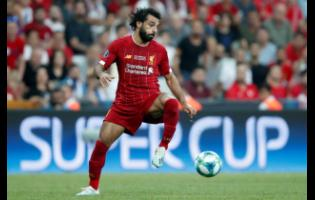 Liverpool's Mohamed Salah controls the ball during the UEFA Super Cup match between Liverpool and Chelsea in Besiktas Park, Istanbul, on  August 14.