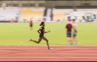 Jamaican 400m hurdler Ronda White in training at the Qatar Sports Club ahead of the World Athletics Championships in Doha, Qatar last September.