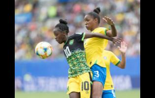File Photos Jody Brown controls the ball ahead of Brazil's Erika Cristiano Dos Santos at the FIFA Women's World Cup at the Stade des Alpes in Grenoble, France, on Sunday, June 9, 2019.