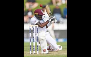 West Indies's Jermaine Blackwood has the ball fly over his head while batting against New Zealand during play on day three of their first cricket test in Hamilton, New Zealand, Saturday, December 5, 2020.