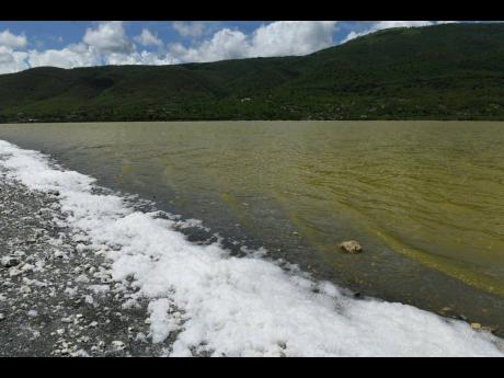 Sand washed up from the pond in Yallahs St Thomas.