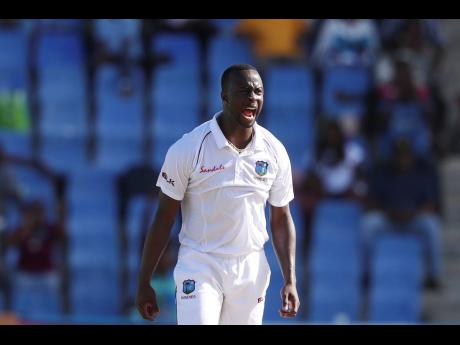 West Indies' bowler Kemar Roach appeals during day one of the first Test.